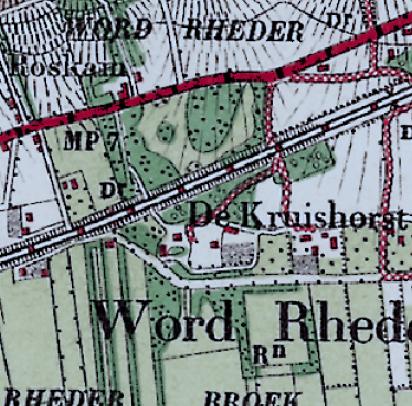 Topografische kaart van 1900 met de parkaanleg in Gemengde stijl.