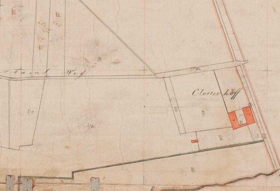 Kadastrale minuutkaart 1811-1832: U-vormig complex.
