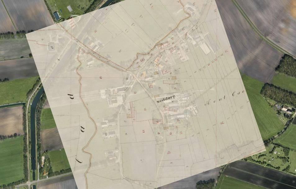 Projectie van de kadastrale minuutkaart van 1811-1832 op een luchtfoto