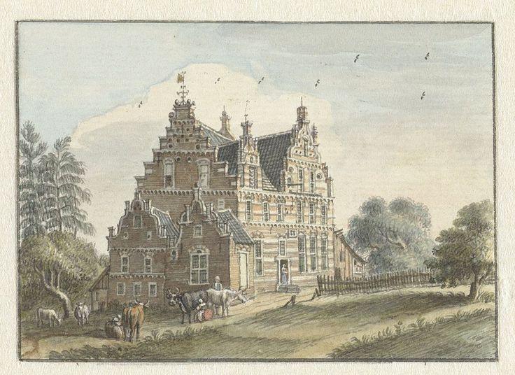 Het Steenen Huys uit 1599, opgetekend door Jan de Beyer in 1743.