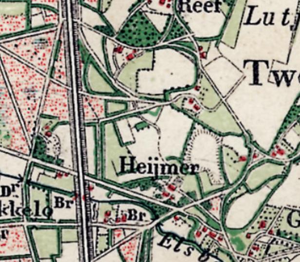 Topografische kaart uit 1898 van Twekkelo met daarop Erve de Haimer