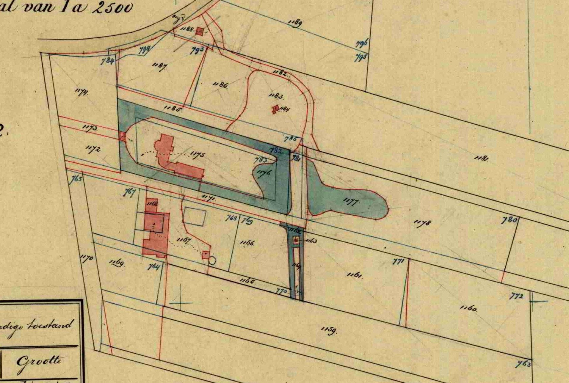 Kadastrale hulpkaart uit 1882. Bruinhorst is gebouwd op een ten minste 18e eeuws omgracht perceel hakhout.