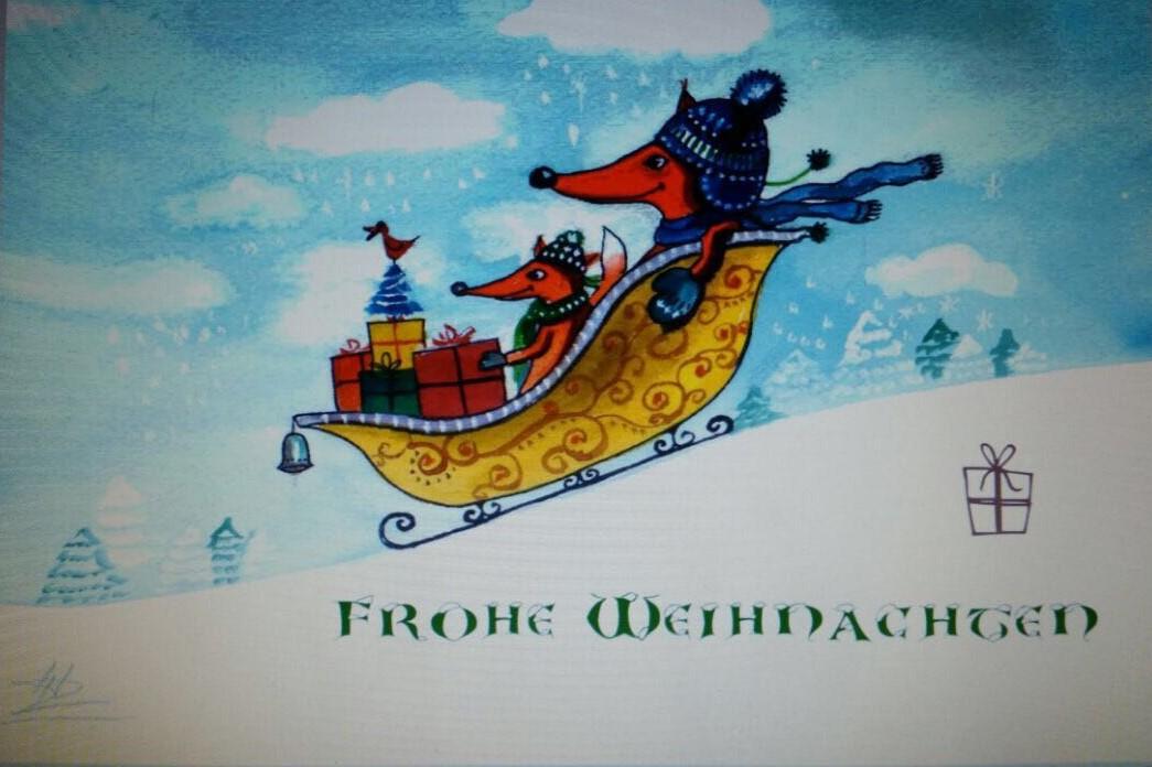 Frohe Weihnachten, Acryl-Gemälde von Tony Hung, KMP+Ostseebad Baabe, A38