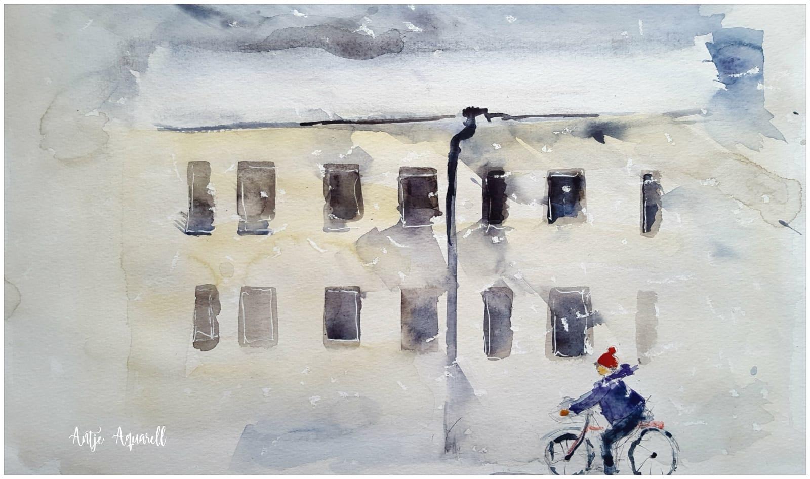 1.12., Aquarell von Antje Koßmagk, Lübbenau, A14