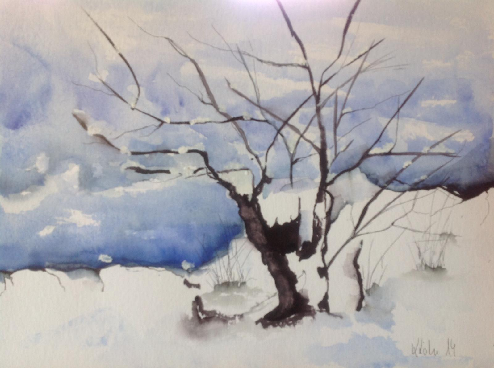 3.1., Winterlandschaft, festgehalten von der Malerin Karin Köhn aus Berlin-Lichterfelde, A8
