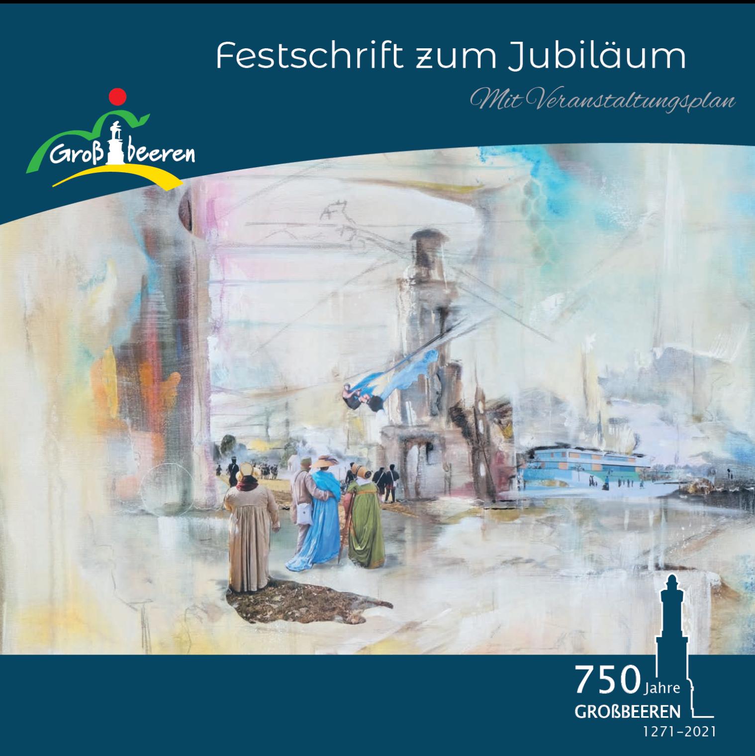 20.2., Festschrift mit Gemälde der Großbeerener Malerin Ulrike Gollnow, 3. Markthallen-Galerie A22