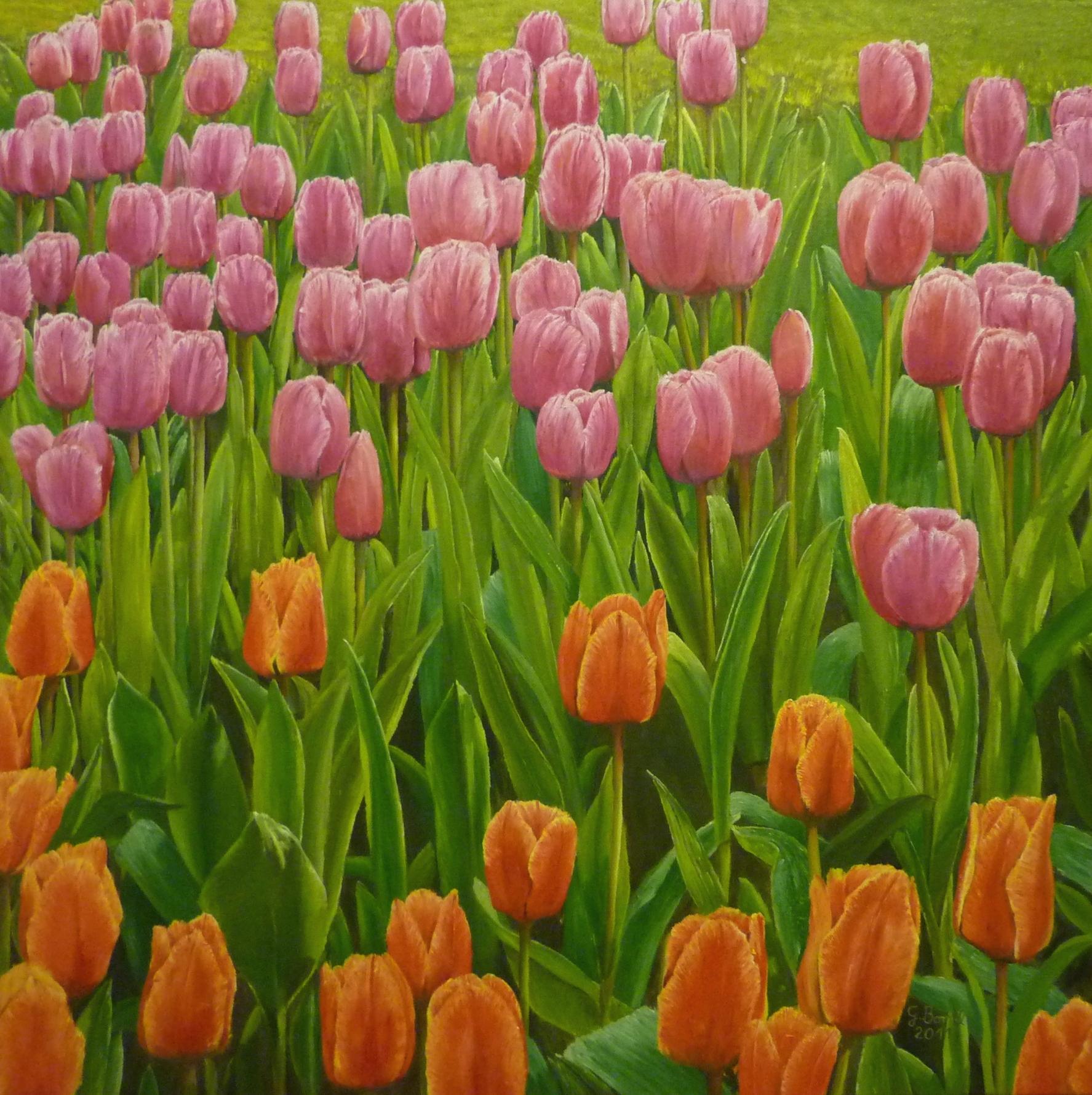 9.2., Tulpen zum Valentinstag; als Ölgemälde von Gernot Borstel, Berlin-Heinersdorf, A42