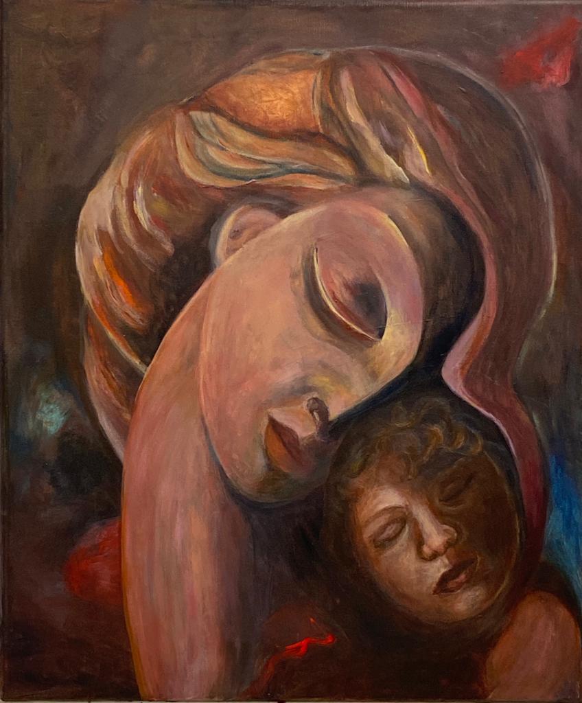 4. Advents-Gruß mit dem Gemälde von Gisela Kissing, Berlin-Wannsee, A32 mit Sponsoring-Info
