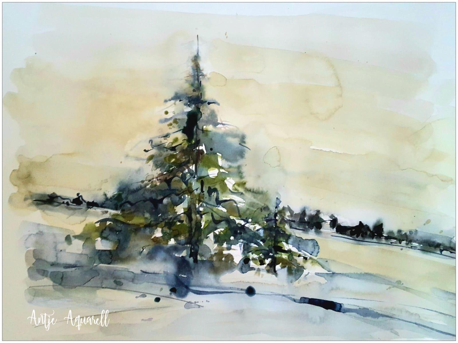 23.12., Weihnachts-Aquarell von Antje Koßmagk, Lübbenau, A14
