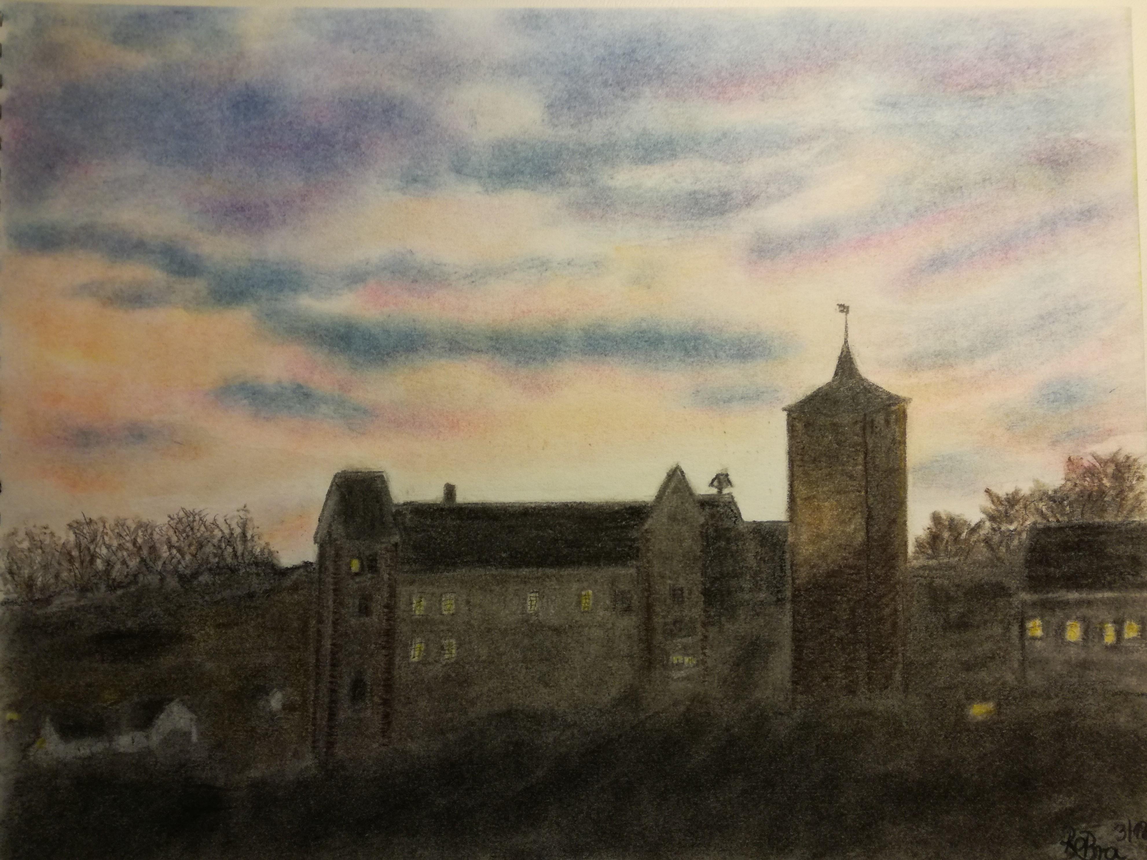 Burg Rothenfels in der Dämmerung  Pastellkreide  Zeichenpapier A4
