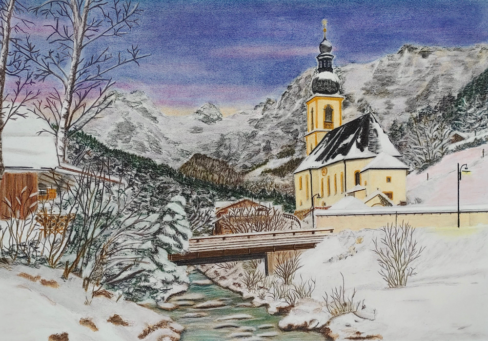 St. Sebastian, Pastell auf Hahnemühle Nostalgie Papier A2