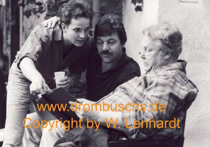 Michael Werlin zusammen mit Mick Werup und Günter Strack bei den Dreharbeiten 1986 in Lengfeld