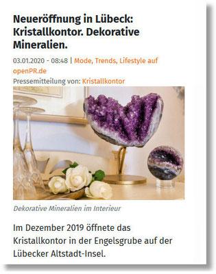 Pressemitteilung Neueröffnung Kristallkontor Lübeck