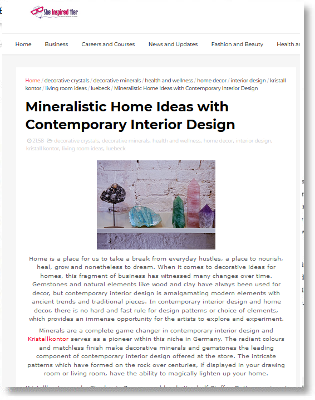The famous site SheInspiredHer writes about Interior Design with Minerals