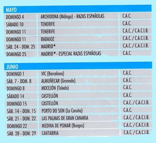 Imagen Real Sociedad Canina de España (R.S.C.E.) Calendario 2014 de mayo y junio de exposiciones de campeonato de morfologia canina