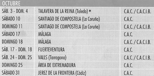 Imagen Real Sociedad Canina de España (R.S.C.E.) Calendario 2015 de octubre de exposiciones de campeonato de morfologia canina