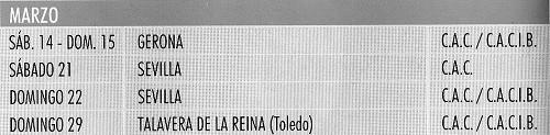 Imagen Real Sociedad Canina de España (R.S.C.E.) Calendario 2015 de marzo de exposiciones de campeonato de morfologia canina