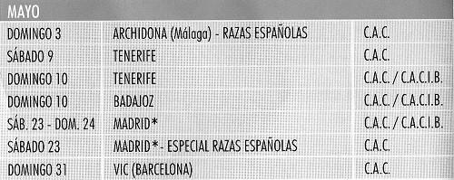 Imagen Real Sociedad Canina de España (R.S.C.E.) Calendario 2015 de mayo de exposiciones de campeonato de morfologia canina