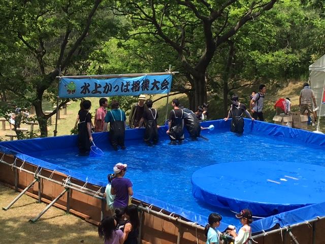 番外編:かっぱ祭の本会場では、「水上かっぱ相撲大会」が行われていました