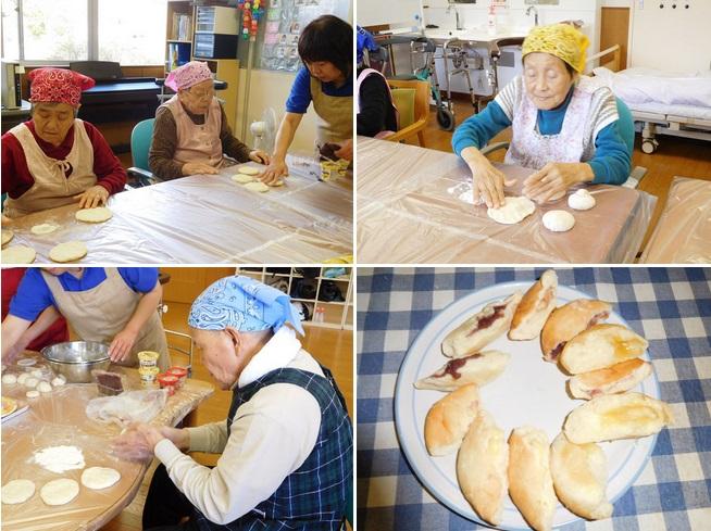 ゆりかごパン工房に新たに加わった男性ご利用者さんと「ハムチーズ」。味も「グー!」