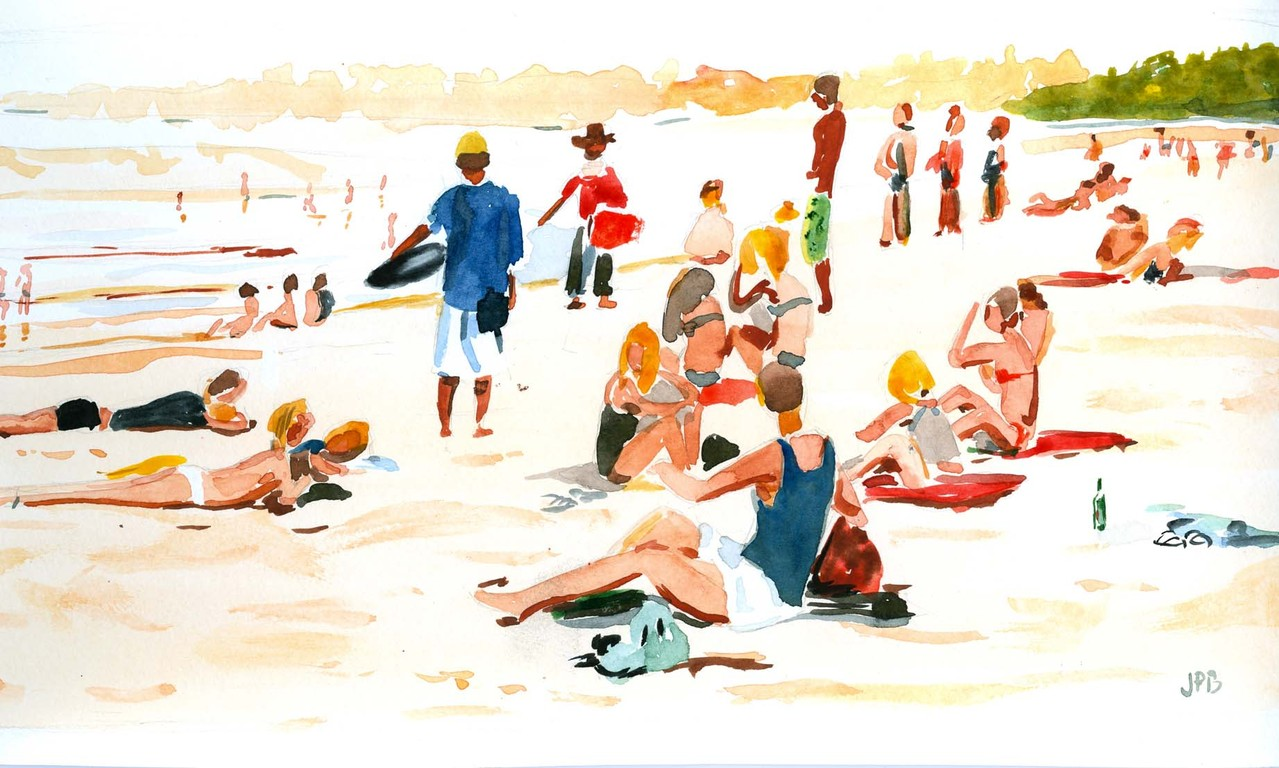 "Jean-Pierre B - ""plage"" Aquarelle 20x30"