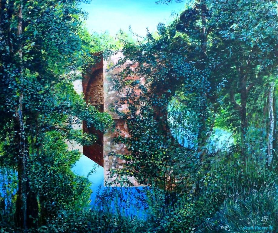 """jean-Pierre B - """"Pont Saint Blaise Najac Aveyron"""" - Acrylique sur toile 65x54"""