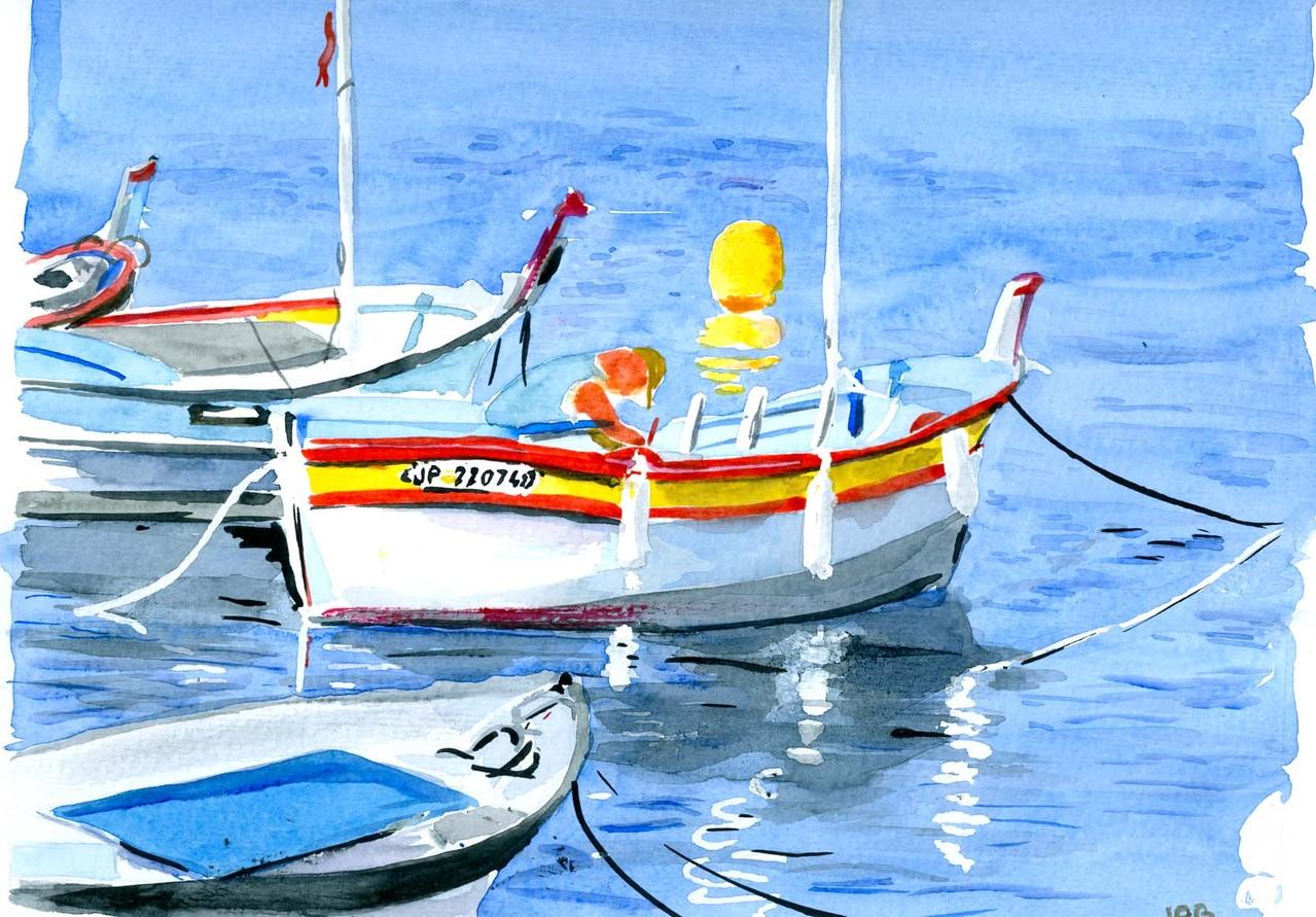 "Jean-Pierre B - "" Barque"" Aquarelle 20x30"