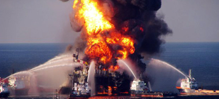 Fire boats battle a fire at the off shore oil rig Deepwater Horizon April 21, 2010 in the Gulf of Mexico off the coast of Louisiana. (photo: US Coast Guard via Getty Images)