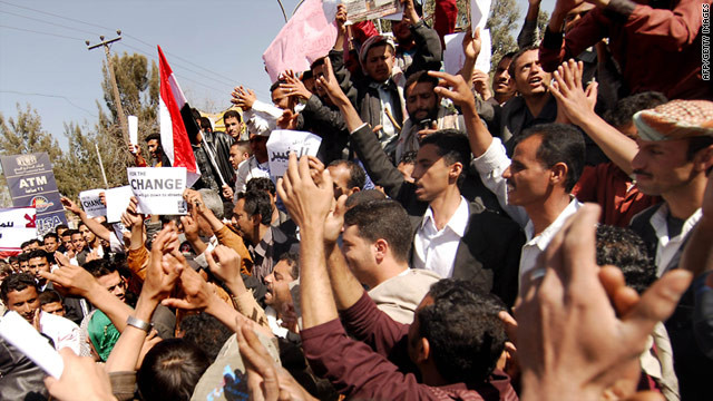 Protesters in Sanaa, Yemen, on Sunday call for the resignation of President Ali Abdullah Saleh
