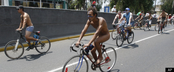 Hundreds of naked and semi-nude bicyclists rode through Lima, Peru to demand safer road conditions.