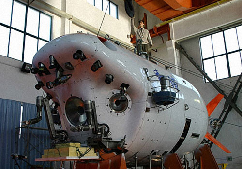 This file photo shows a submersible under construction at an undisclosed location. [Photo/China Daily]