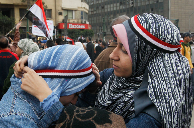 Women supporting women inevitably leads to women supporting revolution. In Tunisia and Tahrir Square, women were at the front and centre of organising and leading protests, demanding social change [GALLO/GETTY]