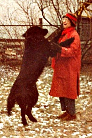 Martha and our pet Newfoundlander RED  1983