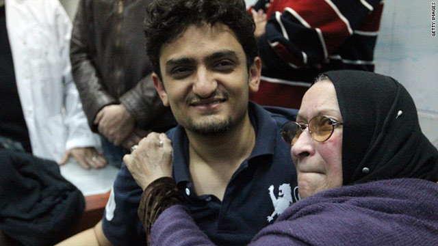 Just out of jail, Wael Ghonim is embraced by the mother of Khalid Said, who was allegedly beaten to death by police.