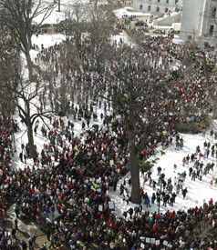 Protesters demonstrate at the Capitol Square in Madison, Wisconsin, on February 16, 2011. (Photo: Narayan Mahon / The New York Times)