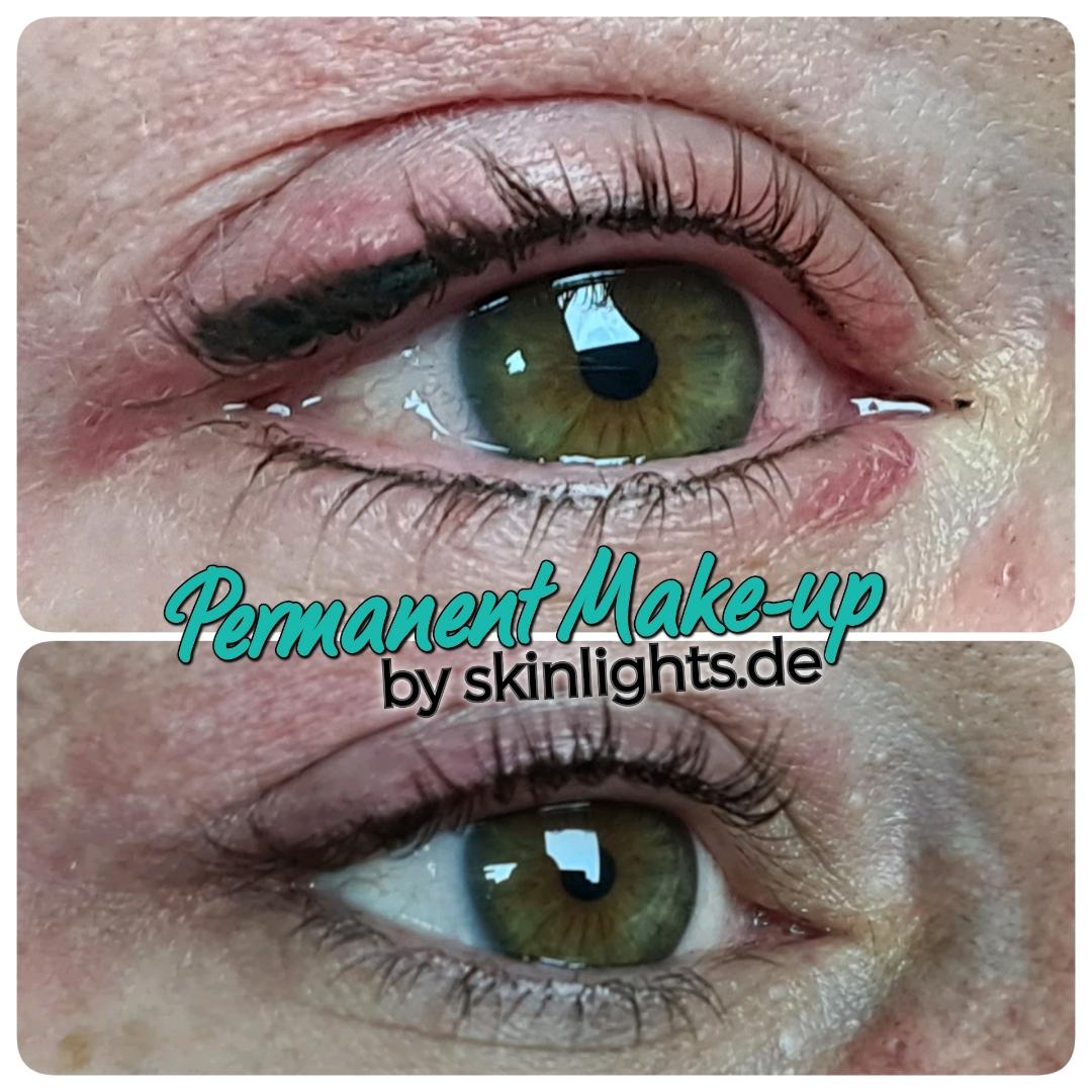 Permanent Make-up Lidstrich natürlich schön - vorher nachher