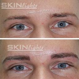 Permanent Make-up Augenbraue Mann vorher / nachher / © katja junius - skinlights.de