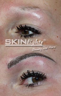 Permanent Make-up Augenbraue Härchenzeichnung vorher / nachher / © katja junius - skinlights.de