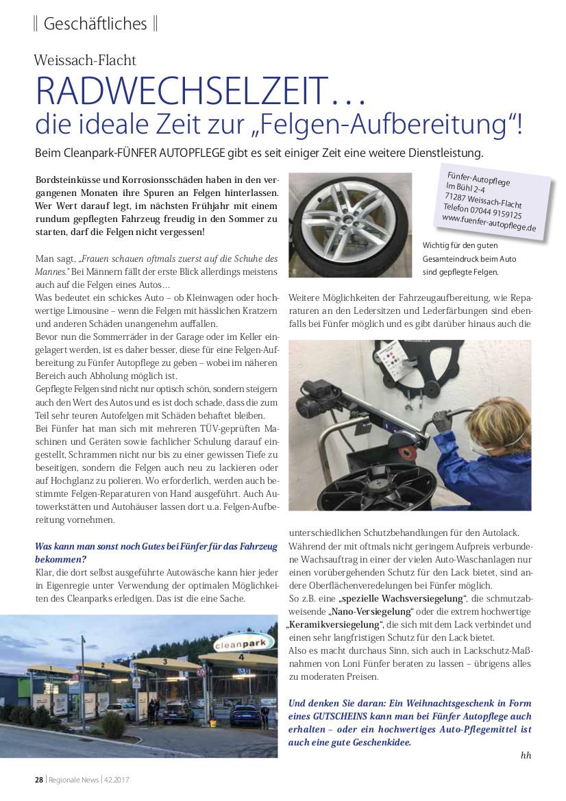 Artikel über Fünfer Autopflege in der Ausgabe 11/2017 der REGIONAL aktuell