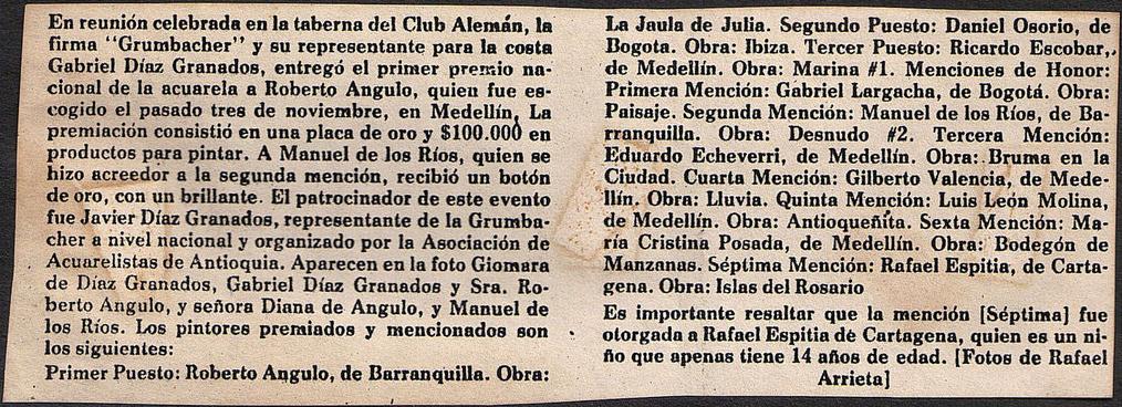 Club Alemán. Concurso de Arte 1981