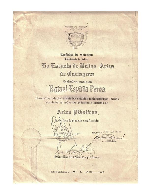 Diploma Escuela de Bellas Artes