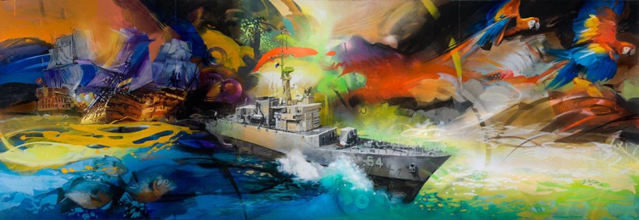 Mural MORIR O SER LIBRES Fragata ARC Independiente / Acrilico sobre lienzo / 2.7 x 1 metros.