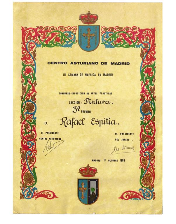 Centro Asturiano de Madrid III Tercera Semana de America en Madrid - TERCER PREMIO Octubre 1989