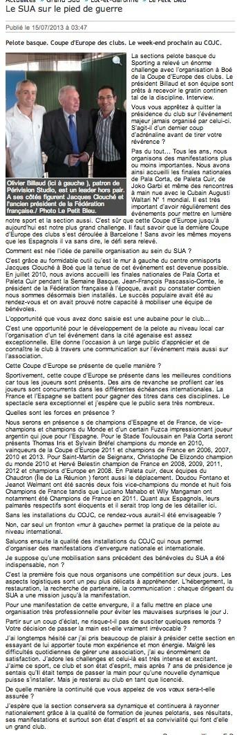 le Petit Bleu 15 juillet 2013