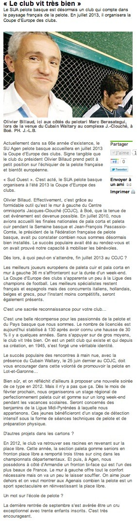 Sud Ouest 29 nov. 2011