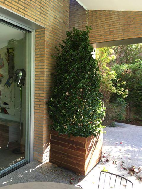 Jardineras al autoclave exterior jardineras de madera - Jardineras con ruedas ...