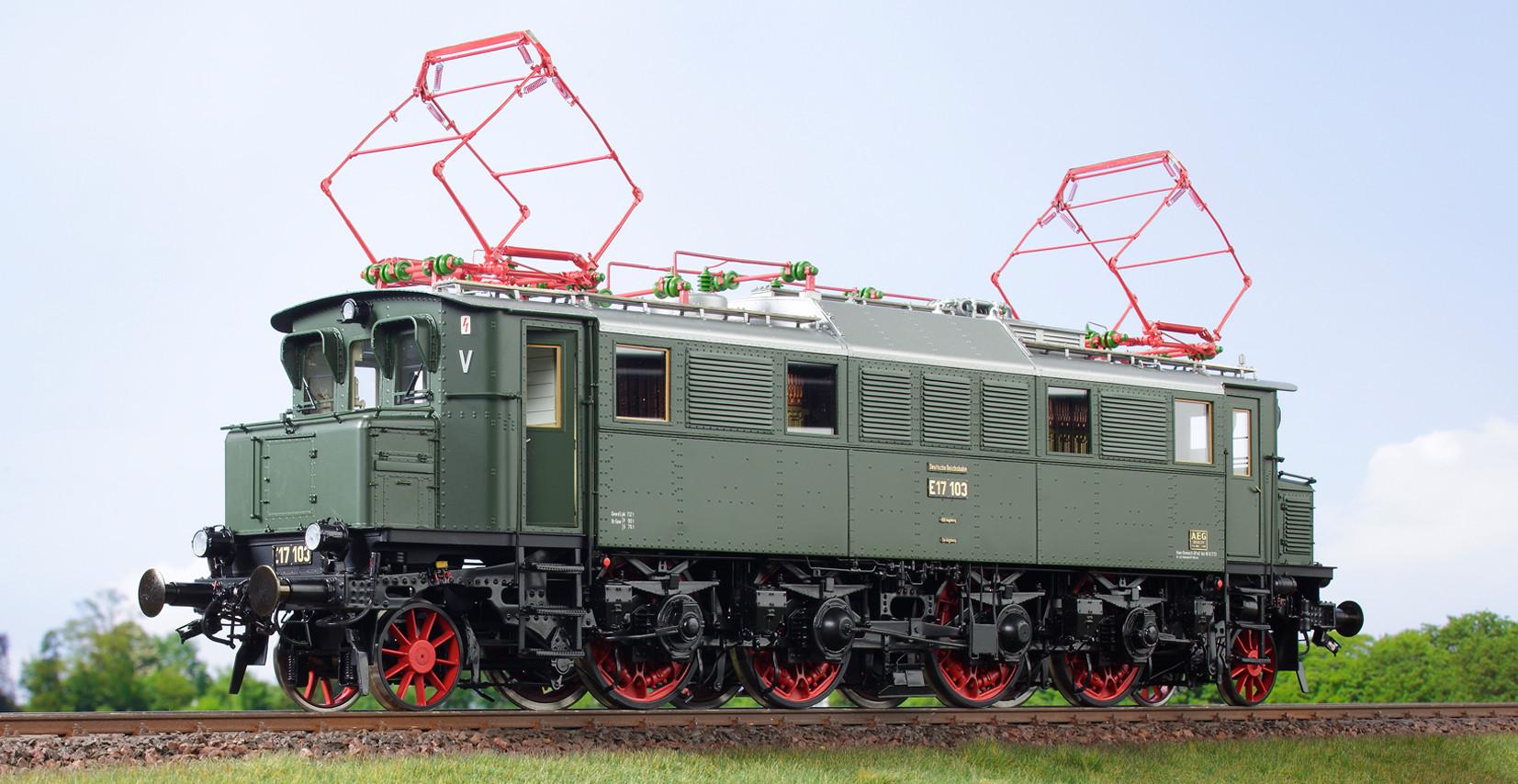 Spur 1 Lokomotive Baureihe E 17 103 Museumslok flaschengrün