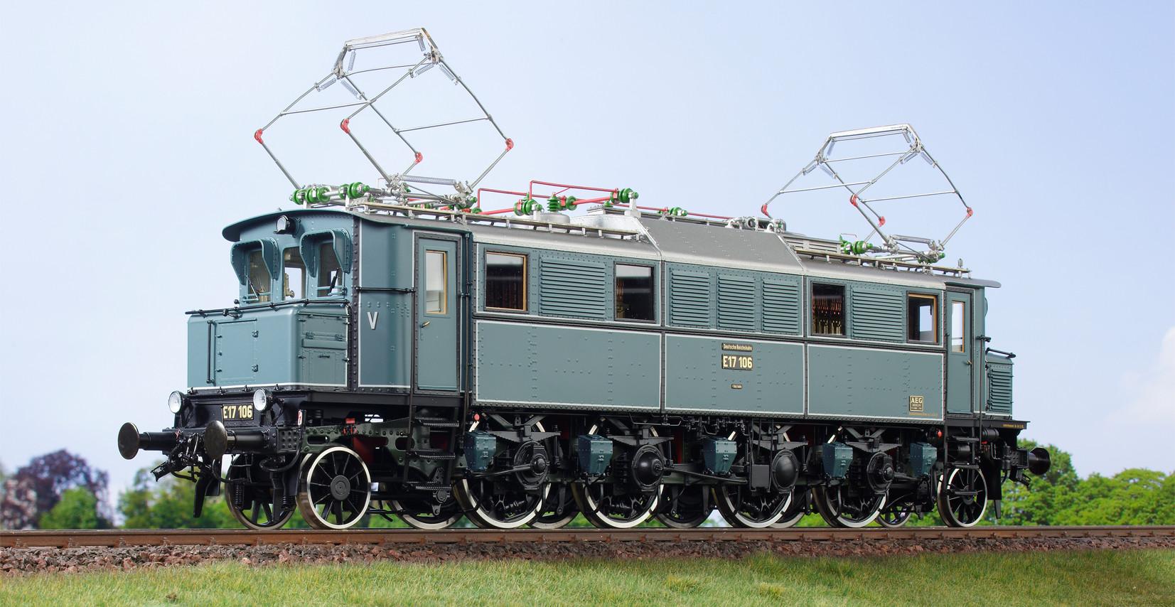 Spur 1 Lokomotive Baureihe E 17 106 Epoche IIb blaugrau