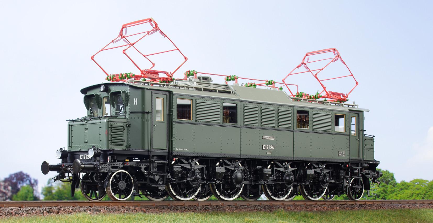 Spur 1 Lokomotive Baureihe E 17 124 Epoche IIIb DRo flaschengrün