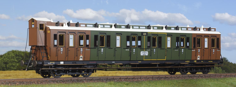 Spur 1 preußischer Abteilwagen, 1., 2., 3. Klasse (Handmuster)